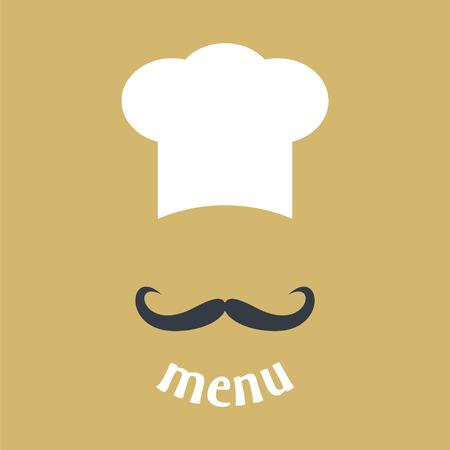 Big Kochmütze mit dem Schnurrbart. Lebensmittel-Service-Symbol. Menü-Karte. Einfache Wohnung Vektor-Illustration Standard-Bild - 43135610