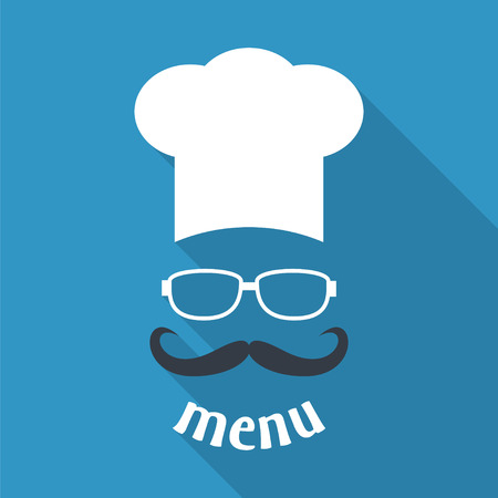 blue white kitchen: Hipster chef  hat with mustache and glasses. Foods Service icon. Menu card with long shadow.  Simple flat vector illustration