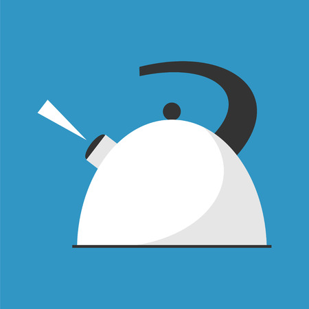 ebullition: Boiling kettle . Hot drinks service. Simple flat vector.