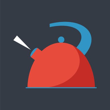 ebullition: �bullition une bouilloire. Service de boissons chaudes. Simple vecteur plat.