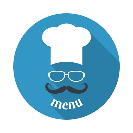 blue white kitchen: Hipster chef  hat with mustache and glasses. Foods Service round icon. Menu card with long shadow.  Simple flat vector illustration