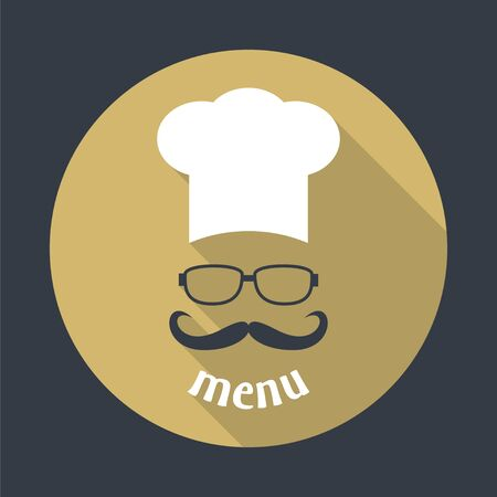 catering service: Hipster chef  hat with mustache and glasses. Foods Service round icon. Menu card with long shadow.  Simple flat vector illustration, EPS 10.