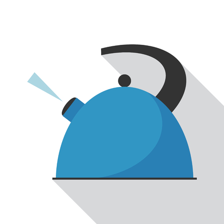 to boiling: Boiling kettle with long shadow. Hot drinks service. Simple flat vector.