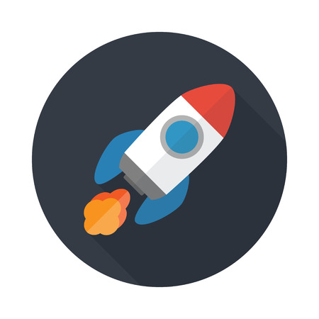 rocket: Rocket flat icon with long shadow. Start Up concept symbol. Vector illustration.  Illustration