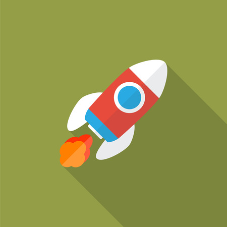 space flight: Rocket flat icon with long shadow. Start Up concept symbol. Vector illustration.  Illustration