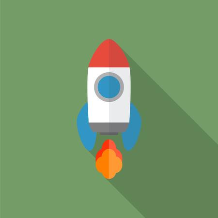 brandweer cartoon: Rocket flat icoon met lange schaduw. Start Up-concept symbool. Vector illustratie.