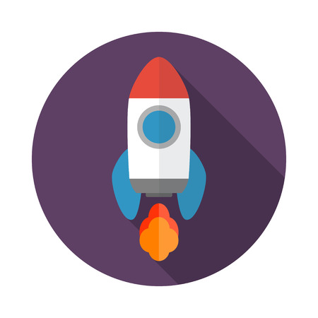 cartoon rocket: Rocket flat icon with long shadow. Start Up concept symbol. Vector illustration. EPS 10.