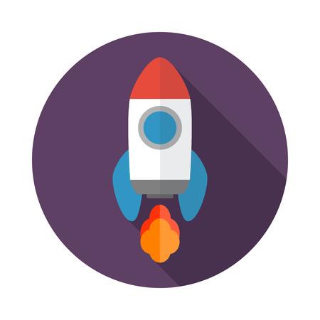 brandweer cartoon: Rocket flat icoon met lange schaduw. Start Up-concept symbool. Vector illustratie. EPS-10.