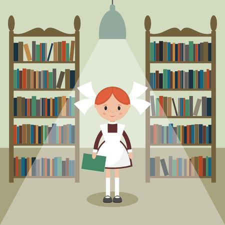 young schoolgirl: Soviet cartoon schoolgirl in library. Soviet schoolgirl in school uniform.  Simple flat vector.