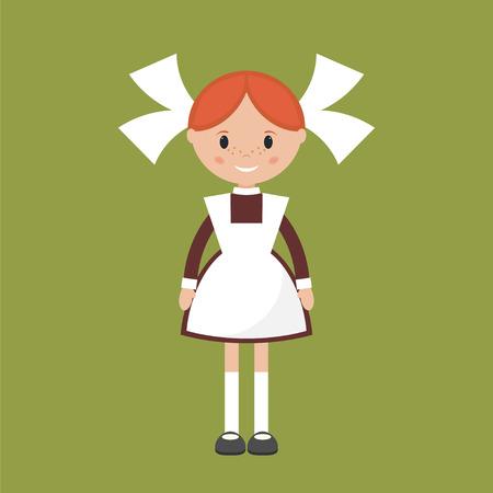 school uniform: Soviet schoolgirl in school uniform. Simple flat vector.  Illustration