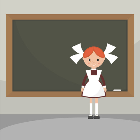 young schoolgirl: Schoolgirl in a classroom near the school board. Soviet schoolgirl in school uniform. Simple flat vector.