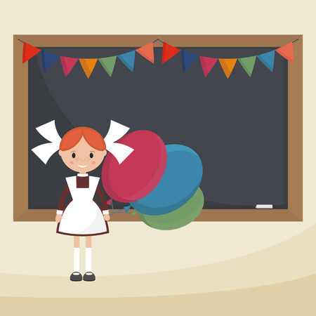 pinafore: Schoolgirl with balloons near the school board. Soviet schoolgirl in school uniform. Simple flat vector.
