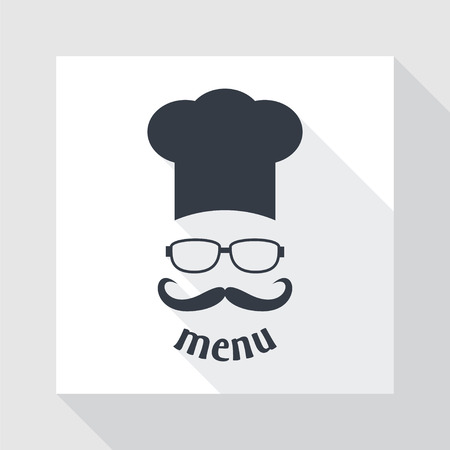 Hipster chef  hat with mustache and glasses. Foods Service icon. Menu card with long shadow.  Simple flat vector illustration.