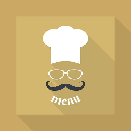 catering service: Hipster chef  hat with mustache and glasses. Foods Service icon. Menu card with long shadow.  Simple flat vector illustration.