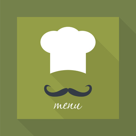 green and black: Big chef hat with mustache. Foods Service icon. Menu card with long shadow. Simple flat vector illustration.
