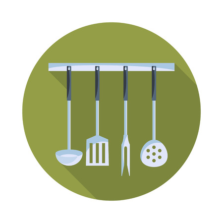 kitchen tools: Kitchen tools on a hanger with long shadow. Simple flat vector round icon.