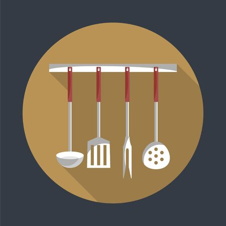kitchen tools: Kitchen tools on a hanger with long shadow. Simple flat vector round icon. EPS 10. Illustration