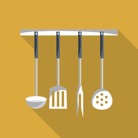 kitchen tools: Kitchen tools on a hanger with long shadow. Simple flat vector. Stock Illustratie