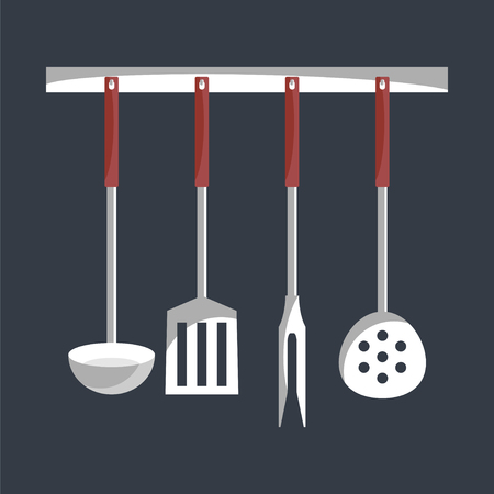 kitchen tools: Kitchen tools on a hanger. Simple flat vector.