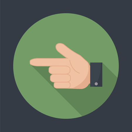 forefinger: Hand pointer icon. Forefinger icon. Round flat vector icon  with long shadow. EPS 10. Illustration