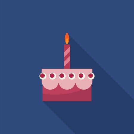blue candles: Birthday cake with candle flat icon with long shadow