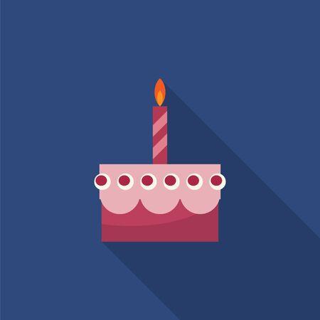 candela: Torta di compleanno con la candela icona piatta con una lunga ombra Vettoriali