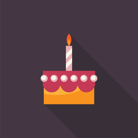 cupcake illustration: Birthday cake with candle flat icon with long shadow