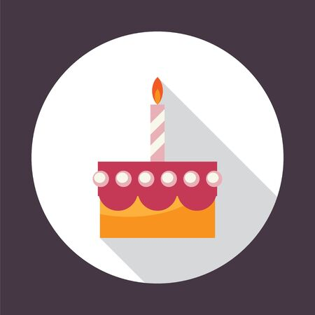wedding cake illustration: Birthday cake. Round flat vector icon  with long shadow. Illustration