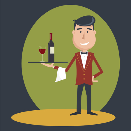 outstretched: Waiter with wine bottle and wine glass and tray on outstretched arm. Simple flat vector.EPS 10.