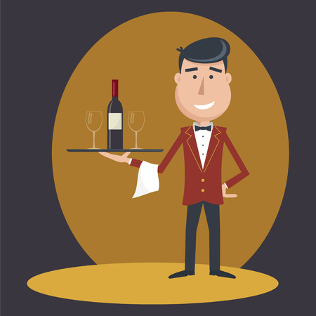 funny cartoon: Waiter with wine bottle and wine glass and tray on outstretched arm. Simple flat vector.EPS 10.