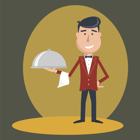 outstretched: Waiter with dish on outstretched arm.  Foods Service . Simple flat vector.EPS 10. Illustration