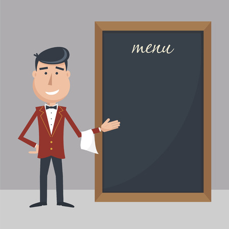 tout: Funny cartoon waiter with menu. Flat vector illustration. EPS 10. Illustration