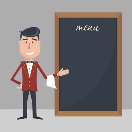 Funny cartoon waiter with menu. Flat vector illustration. EPS 10. Illustration