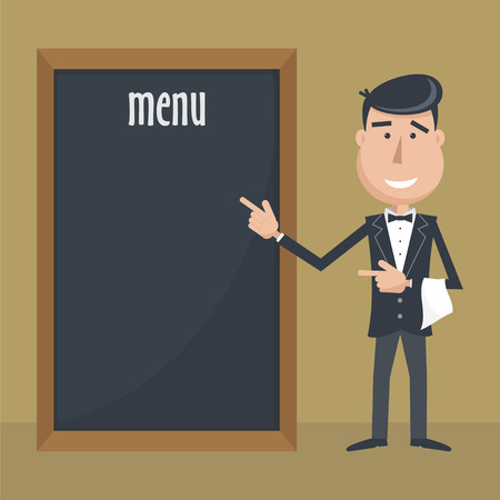 dark haired: Funny cartoon waiter with menu.