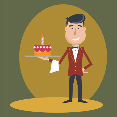 Waiter with  cake on tray on outstretched arm.  Illustration