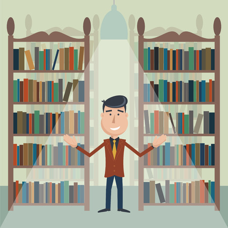 dark haired: Man with a book between bookshelves in the library. Illustration