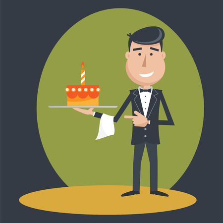 outstretched: Waiter with  cake on tray on outstretched arm.  Illustration