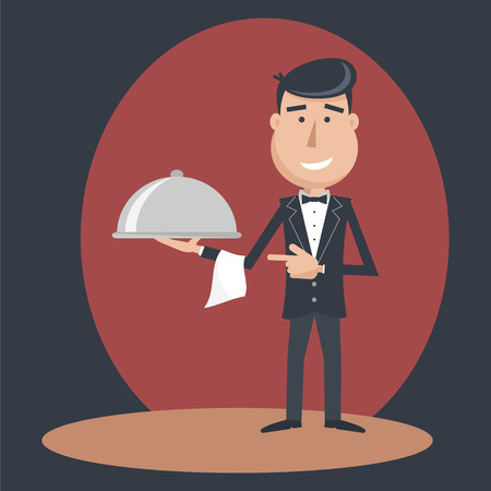 Waiter with dish on outstretched arm.