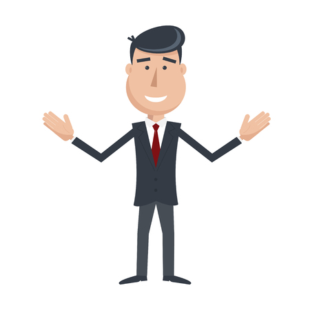 businessman suit: Funny man in suit and tie with  hands up. Cartoon businessman. Simple flat vector. EPS 10.
