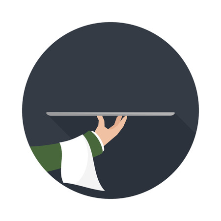 food tray: Foods Service icon with long shadow. Food Serving empty tray platter. Simple flat vector.