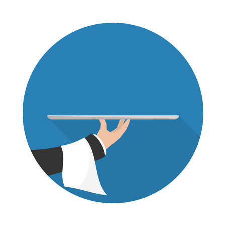 waiter tray: Foods Service icon with long shadow. Food Serving empty tray platter. Simple flat vector.