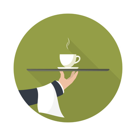 outstretched: Waiter with cup of green tea and tray on outstretched arm. Icon with long shadow.  Simple flat vector.