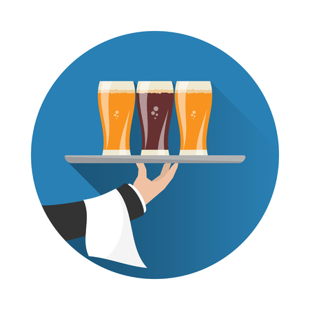 outstretched: Waiter with three glasses of beer and tray on outstretched arm. Foods Service icon with long shadow. Simple flat vector.