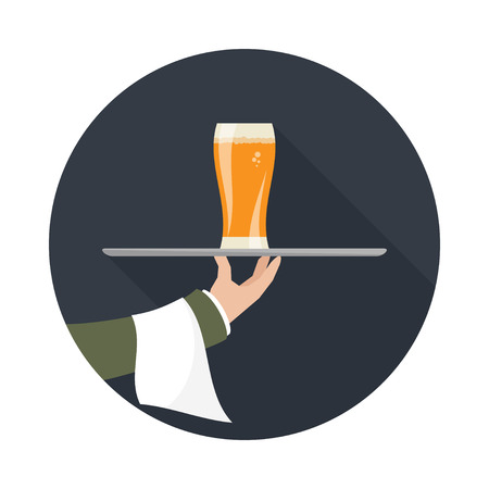 outstretched: Waiter with glass of beer and tray on outstretched arm. Foods Service icon with long shadow. Simple flat vector.