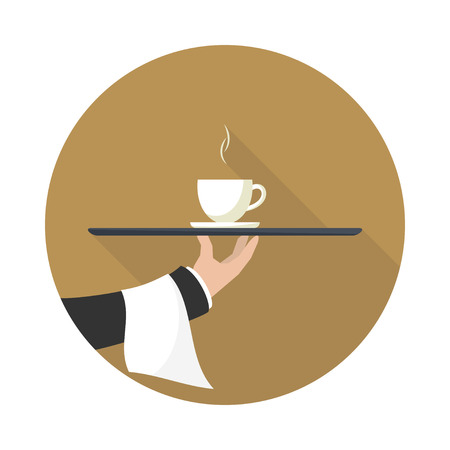 outstretched: Waiter with cup of coffee and tray on outstretched arm. Icon with long shadow.  Simple flat vector.