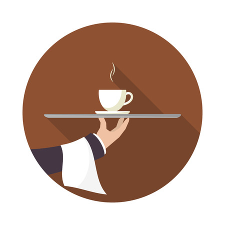 Waiter with cup of coffee and tray on outstretched arm. Icon with long shadow.  Simple flat vector.  矢量图像