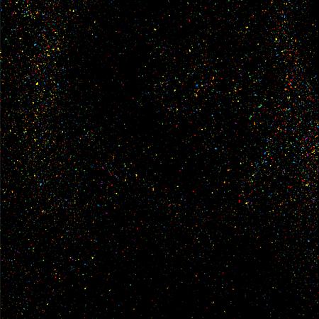 カラフルな紙吹雪ベクトル。黒の背景にザラザラした抽象的なカラフルな質感。デザイン要素。ベクトル イラスト、eps 10。
