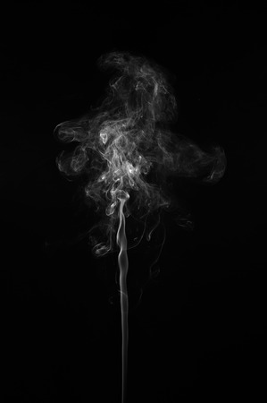 black line: Abstract smoke moves on a black background. Design element. Abstract texture. Stock Photo