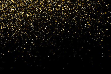 polvo: La textura del brillo del oro en un fondo negro