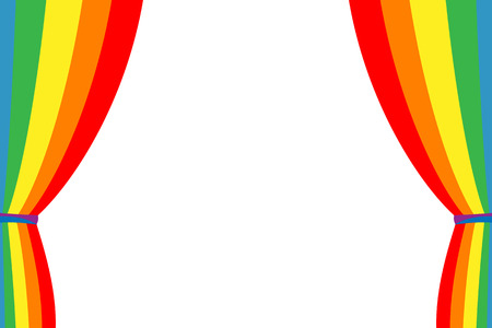 curtain design: Rainbow curtain opened on a white background. Multicolored curtain. Design element.